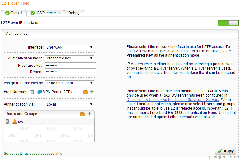 CONFIGURING REMOTE ACCESS L2TP over IPsec SOPHOS UTM AND